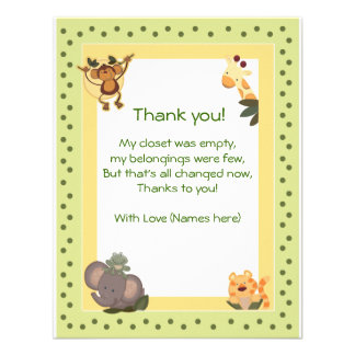 Jungle Safari Animals Baby Shower Thank you notes Invitation