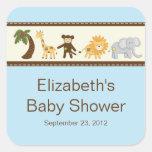 Jungle Safari Animals Blue Boy Baby Shower Square Sticker