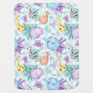 Jungle Safari Animals Elephant Zebra Hippo Giraffe Baby Blanket