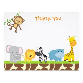 Jungle Safari Animals Flat Thank You Note Cards 11 Cm X 14 Cm Invitation Card