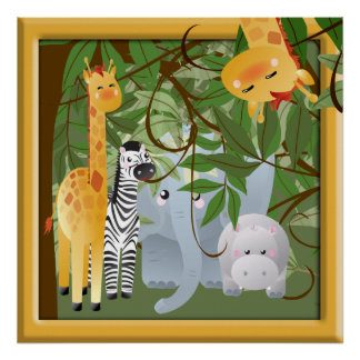 Jungle Safari Animals Kids Room Poster