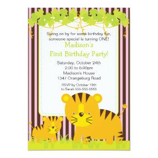"""Jungle Safari Baby Tiger Birthday Party Invitation 5"""" X 7"""" Invitation Card"""