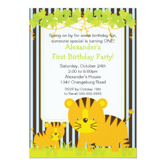 Jungle Safari Baby Tiger Birthday Party Invitation