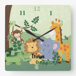 Jungle Safari Customizable Square Clock