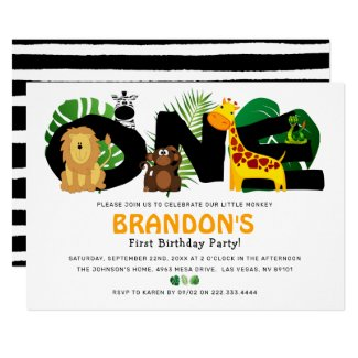 Jungle Safari Cute Animal 1st Birthday Party Invitation