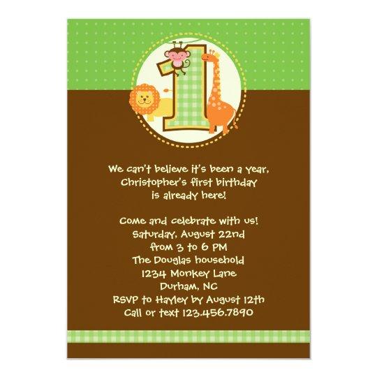 Jungle Safari First Birthday Invitation