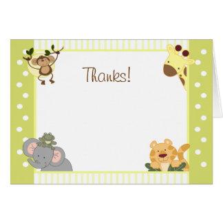 Jungle Safari Folded Thank you Note Card