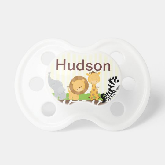 Jungle Safari Pacifier Personalised with Baby Name