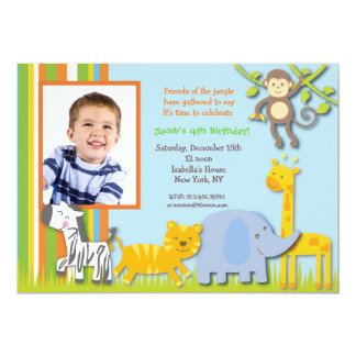 Jungle Safari  Photo Birthday Invitations
