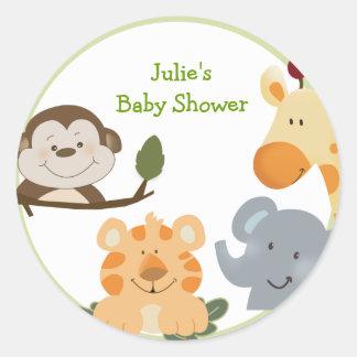 JUNGLE SAFARI Round Favor Stickers