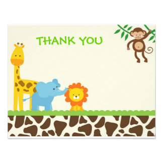Jungle Safari Thank You Notes cards Custom Announcement
