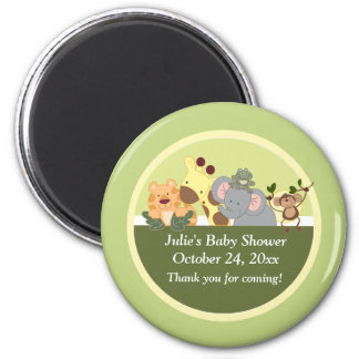 Jungle Safari Tiger Giraffe Elephant Monkey Favor 6 Cm Round Magnet