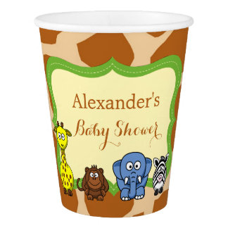 Jungle safari wild animal neutral baby shower paper cup