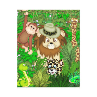 Jungle  Safari Wrapped Canvas KIDS ROOM MURAL Canvas Prints