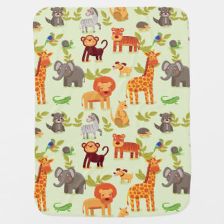 Jungle Safari Zoo Animals Pattern Baby Blanket