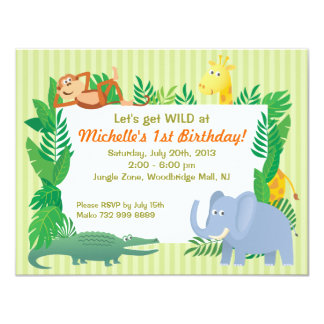 Jungle SAFARI Zoo themed Birthday Invitation Card