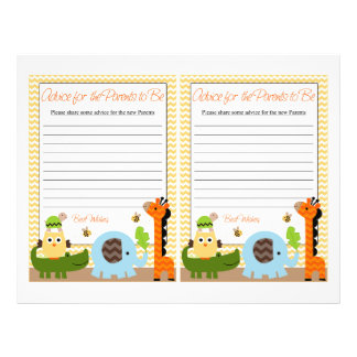 Jungle Stack Animal Baby Shower Advice for Parents 21.5 Cm X 28 Cm Flyer