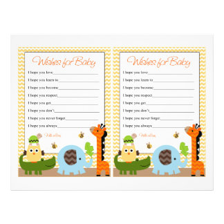 Jungle Stack Animal Baby Shower Wishes for Baby 21.5 Cm X 28 Cm Flyer