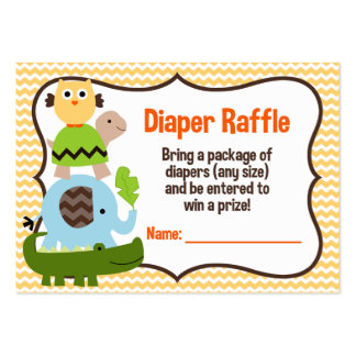 Jungle Stack Animals Chevron Diaper Raffle Tickets Pack Of Chubby Business Cards