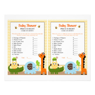 Jungle Stack Animals Price Game Baby Shower 21.5 Cm X 28 Cm Flyer
