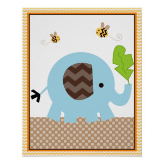 Jungle Stack Elephant Baby Nursery Art Poster