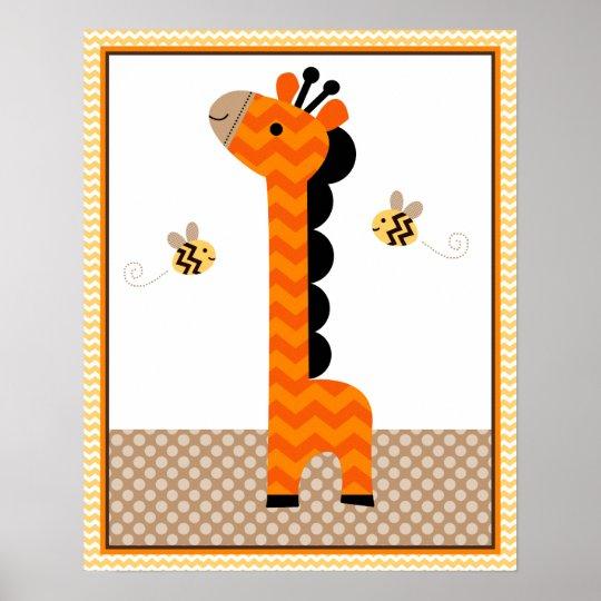 Jungle Stack Giraffe Baby Nursery Art/Poster Poster