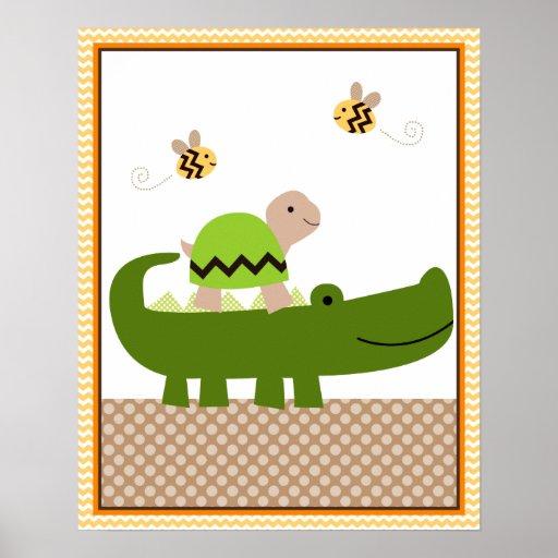 Jungle Stack Turtle Alligator Baby Nursery Art Poster