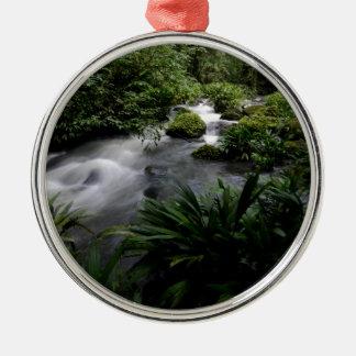 Jungle Stream River Landscape Amazon Silver-Colored Round Decoration