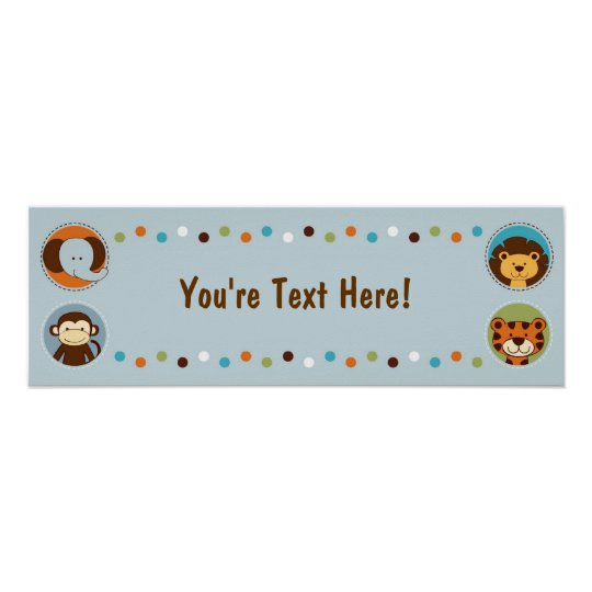 Jungle Tales Jungle Animals Personalised Banner Poster