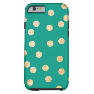 Jungle Teal and Gold City Dots Tough iPhone 6 Case