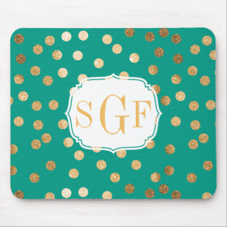 Jungle Teal and Gold Glitter Dots Monogrammed Mouse Pad