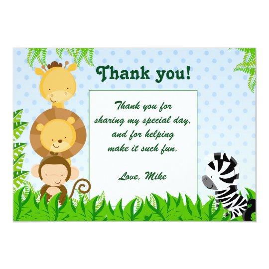 Jungle Thank You Card Birthday Baby Boy Shower