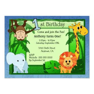 Jungle Theme Birthday Invitations Announcements Zazzlecouk