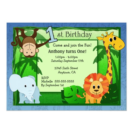 Jungle Theme 1st Birthday Invitation Zazzle Co Uk
