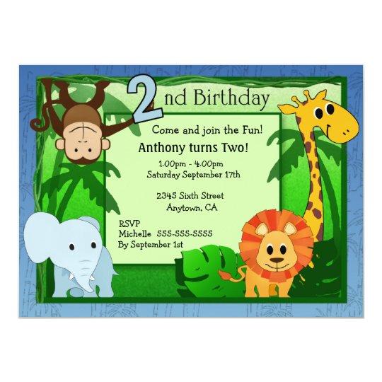 Jungle Theme 2nd Birthday Invitation