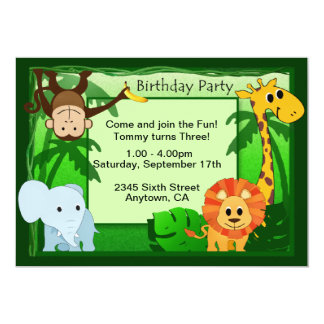 Jungle Theme Birthday Party Invite