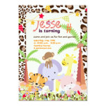 Jungle Theme/Personalised Party/photo 13 Cm X 18 Cm Invitation Card