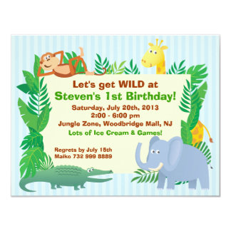 Jungle themed Birthday Invitation Card