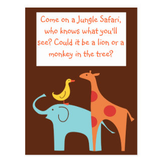 Jungle Themed Custom Baby Shower Invitation Postcard
