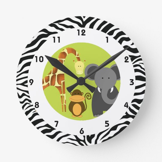 Jungle Themed Kid's Bedroom Round Clock