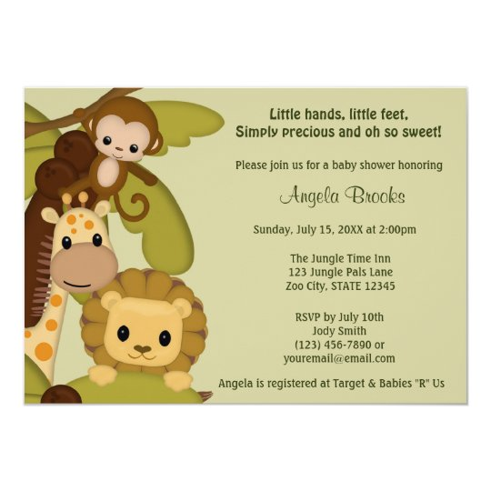 Jungle Time Animals Baby Shower Invitation JTN-L