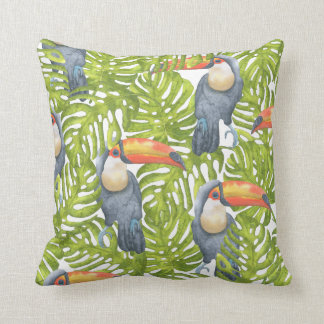 Jungle Toucan Bird Trees Pattern Cushion