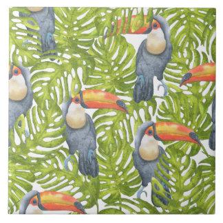 Jungle Toucan Bird Trees Pattern Tile