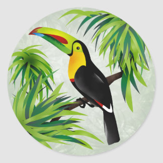Jungle Toucan Classic Round Sticker