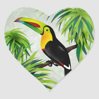 Jungle Toucan Heart Sticker