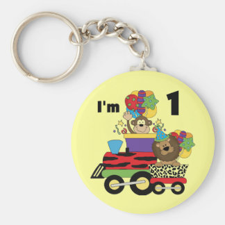 Jungle Train 1st Birthday T-shirts and Gifts Basic Round Button Key Ring