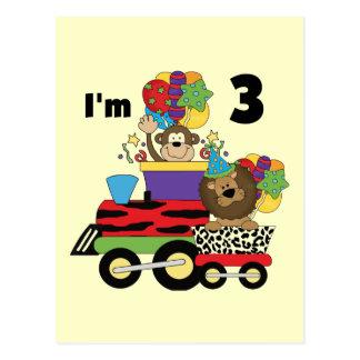 Jungle Train 3rd Birthday Tshirts and Gifts Postcard