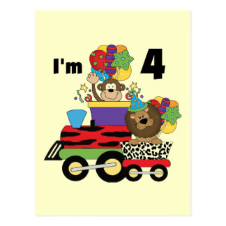 Jungle Train 4th Birthday  Tshirts and Gifts Postcard