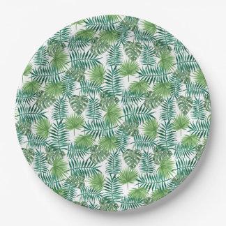 Jungle Tropical Leaves Elegant Nature Paper Plate