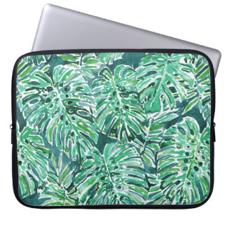 JUNGLE VIBES Green Tropical Monstera Pattern Laptop Sleeve